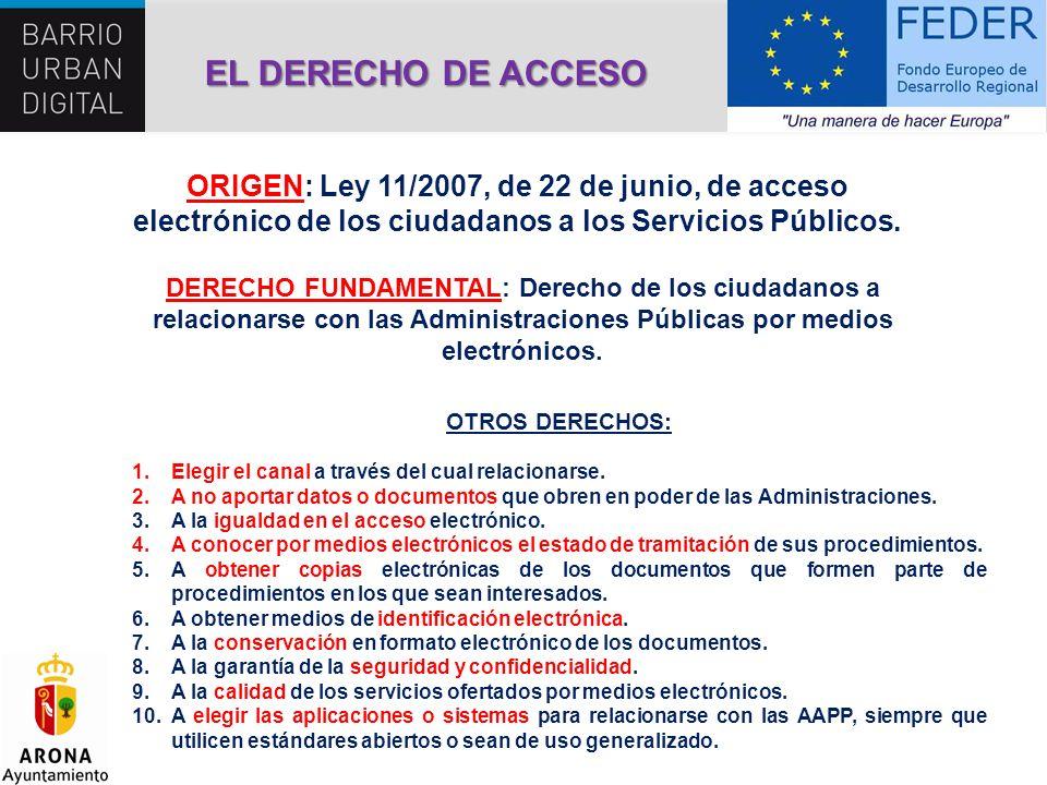 ORIGEN: Ley 11/2007, de 22 de junio, de acceso electrónico de los ciudadanos a los Servicios Públicos. DERECHO FUNDAMENTAL: Derecho de los ciudadanos