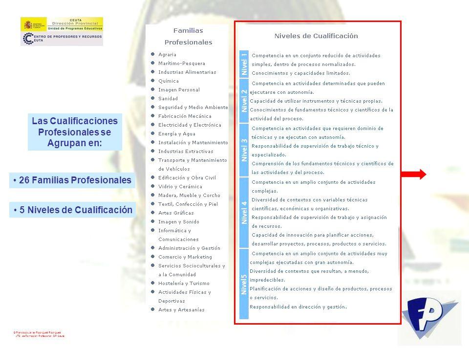 © Francisco Javier Rodríguez Rodríguez ATD de Formación Profesional. DP Ceuta Las Cualificaciones Profesionales se Agrupan en: 26 Familias Profesional