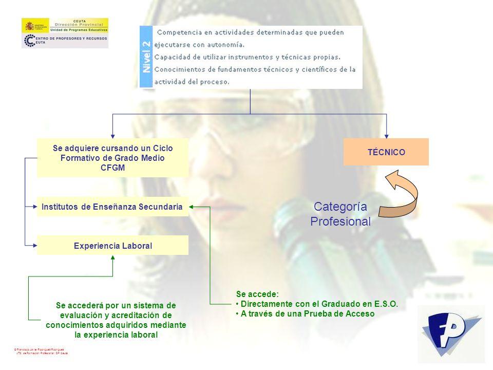 © Francisco Javier Rodríguez Rodríguez ATD de Formación Profesional. DP Ceuta TÉCNICO Categoría Profesional Se adquiere cursando un Ciclo Formativo de