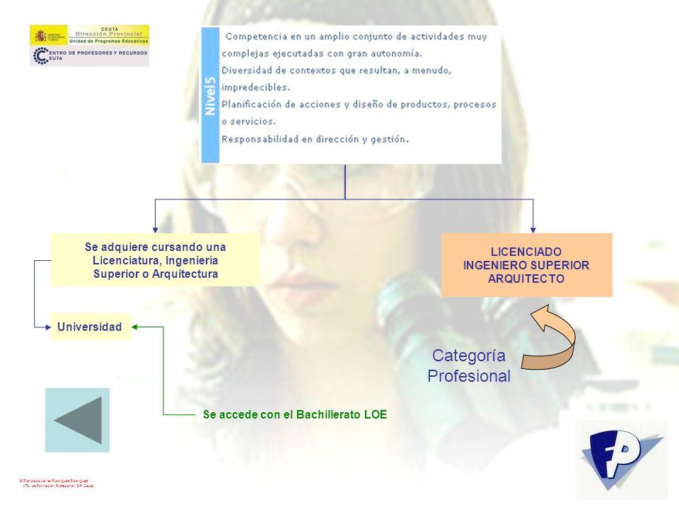 © Francisco Javier Rodríguez Rodríguez ATD de Formación Profesional. DP Ceuta LICENCIADO INGENIERO SUPERIOR ARQUITECTO Categoría Profesional Se adquie