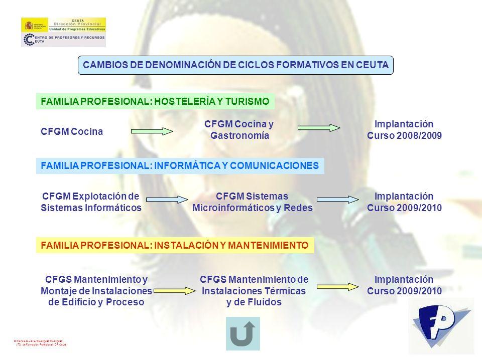© Francisco Javier Rodríguez Rodríguez ATD de Formación Profesional. DP Ceuta FAMILIA PROFESIONAL: HOSTELERÍA Y TURISMO CFGM Cocina CFGM Cocina y Gast