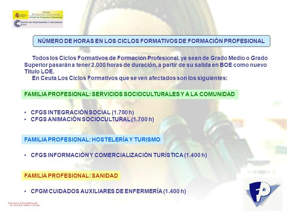 © Francisco Javier Rodríguez Rodríguez ATD de Formación Profesional. DP Ceuta FAMILIA PROFESIONAL: SERVICIOS SOCIOCULTURALES Y A LA COMUNIDAD CFGS INT