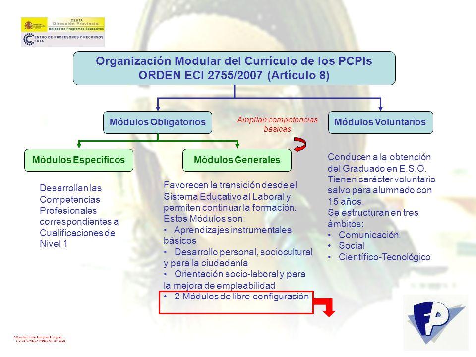 © Francisco Javier Rodríguez Rodríguez ATD de Formación Profesional. DP Ceuta Organización Modular del Currículo de los PCPIs ORDEN ECI 2755/2007 (Art