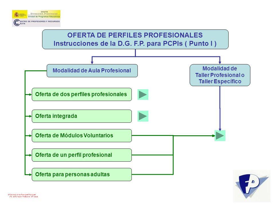 © Francisco Javier Rodríguez Rodríguez ATD de Formación Profesional. DP Ceuta OFERTA DE PERFILES PROFESIONALES Instrucciones de la D.G. F.P. para PCPI