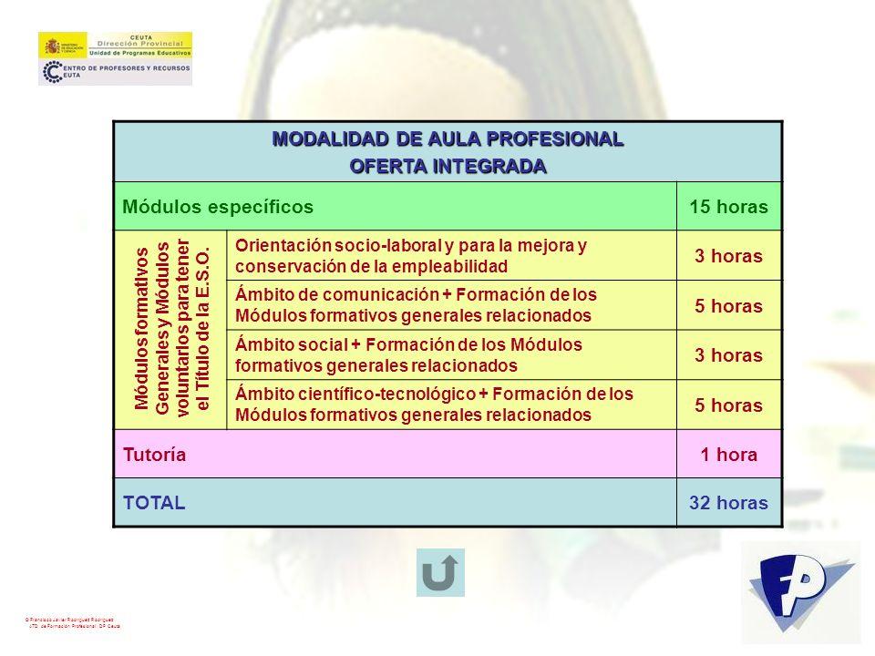 © Francisco Javier Rodríguez Rodríguez ATD de Formación Profesional. DP Ceuta MODALIDAD DE AULA PROFESIONAL OFERTA INTEGRADA Módulos específicos15 hor