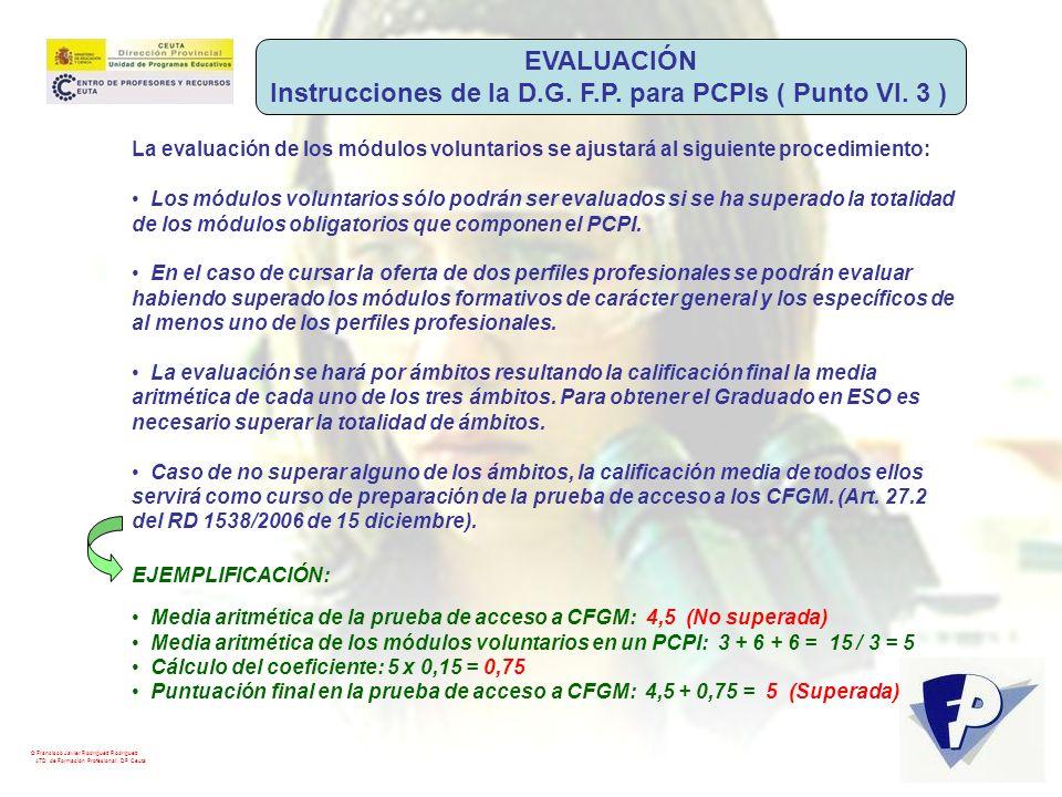 © Francisco Javier Rodríguez Rodríguez ATD de Formación Profesional. DP Ceuta La evaluación de los módulos voluntarios se ajustará al siguiente proced