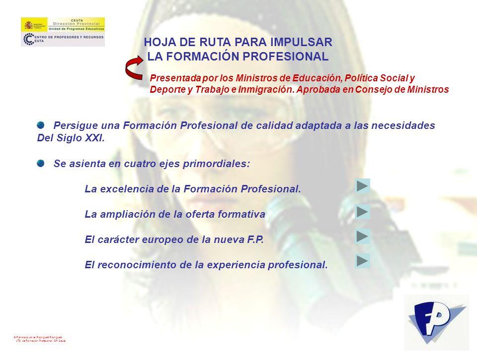 © Francisco Javier Rodríguez Rodríguez ATD de Formación Profesional. DP Ceuta HOJA DE RUTA PARA IMPULSAR LA FORMACIÓN PROFESIONAL Presentada por los M