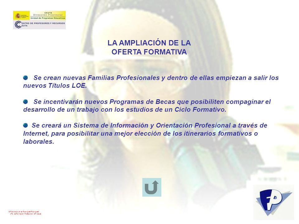 © Francisco Javier Rodríguez Rodríguez ATD de Formación Profesional. DP Ceuta LA AMPLIACIÓN DE LA OFERTA FORMATIVA Se crean nuevas Familias Profesiona
