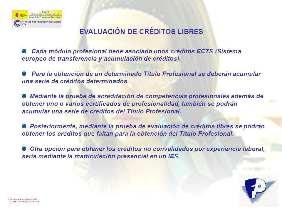 © Francisco Javier Rodríguez Rodríguez ATD de Formación Profesional. DP Ceuta EVALUACIÓN DE CRÉDITOS LIBRES Cada módulo profesional tiene asociado uno