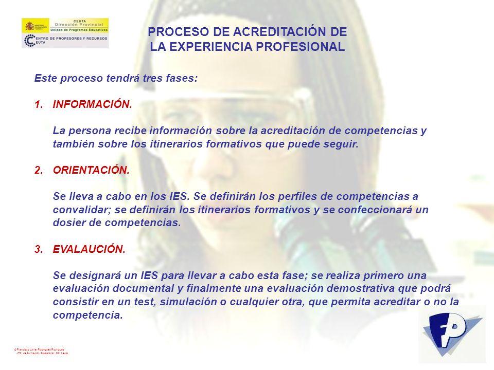 © Francisco Javier Rodríguez Rodríguez ATD de Formación Profesional. DP Ceuta PROCESO DE ACREDITACIÓN DE LA EXPERIENCIA PROFESIONAL Este proceso tendr