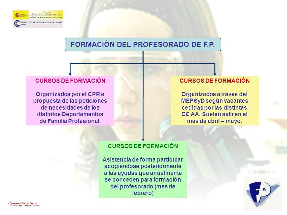 © Francisco Javier Rodríguez Rodríguez ATD de Formación Profesional. DP Ceuta FORMACIÓN DEL PROFESORADO DE F.P. CURSOS DE FORMACIÓN Organizados por el