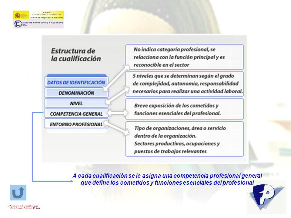 Cada cualificación se organiza en Unidades de Competencia Se define como Unidad de Competencia Profesional la mínima competencia Profesional susceptible de reconocimiento y acreditación parcial © Francisco Javier Rodríguez Rodríguez ATD de Formación Profesional.