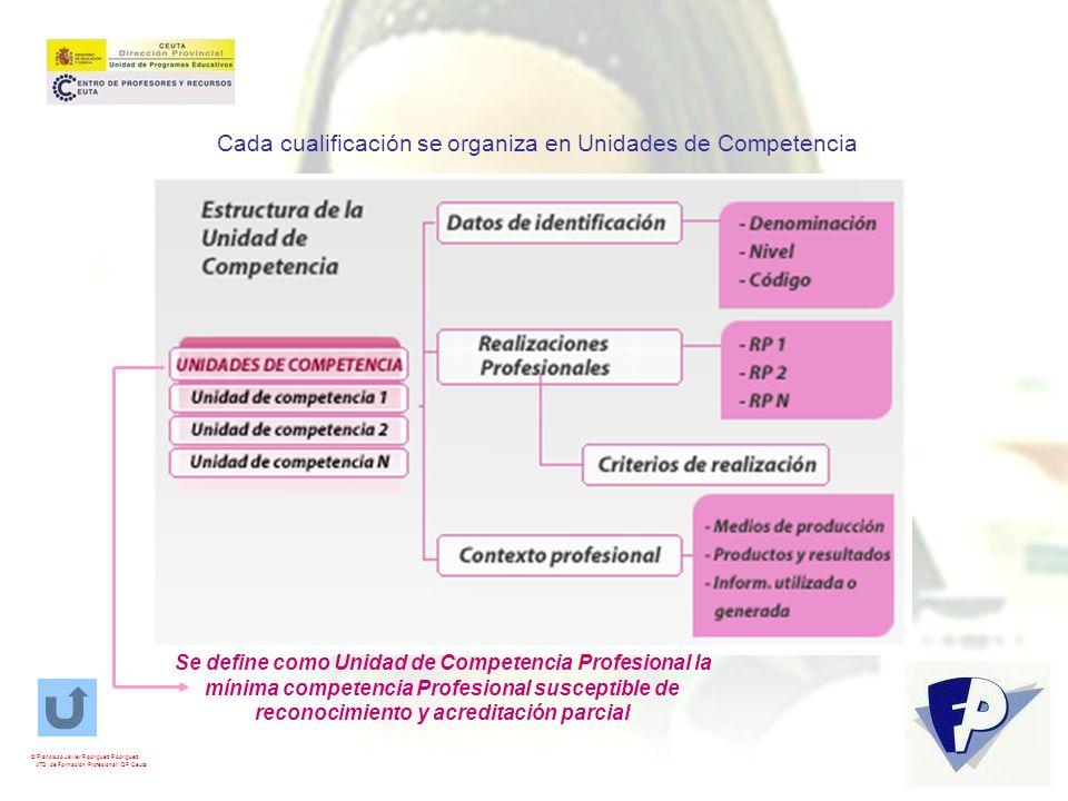 Cada cualificación se organiza en Unidades de Competencia Se define como Unidad de Competencia Profesional la mínima competencia Profesional susceptib