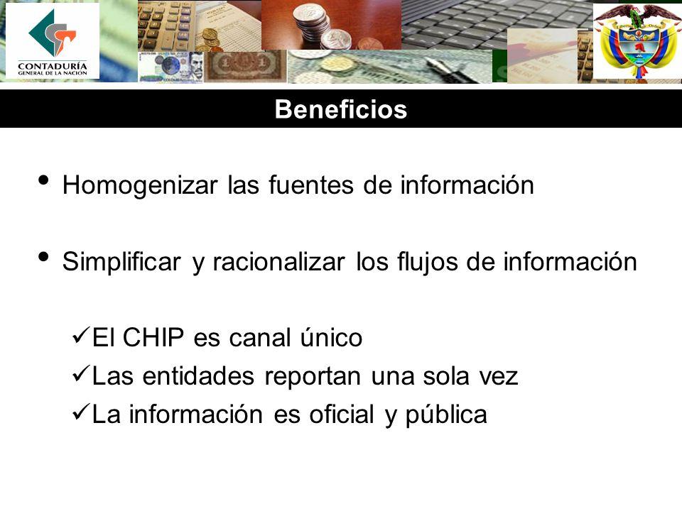 Beneficios Homogenizar las fuentes de información Simplificar y racionalizar los flujos de información El CHIP es canal único Las entidades reportan u