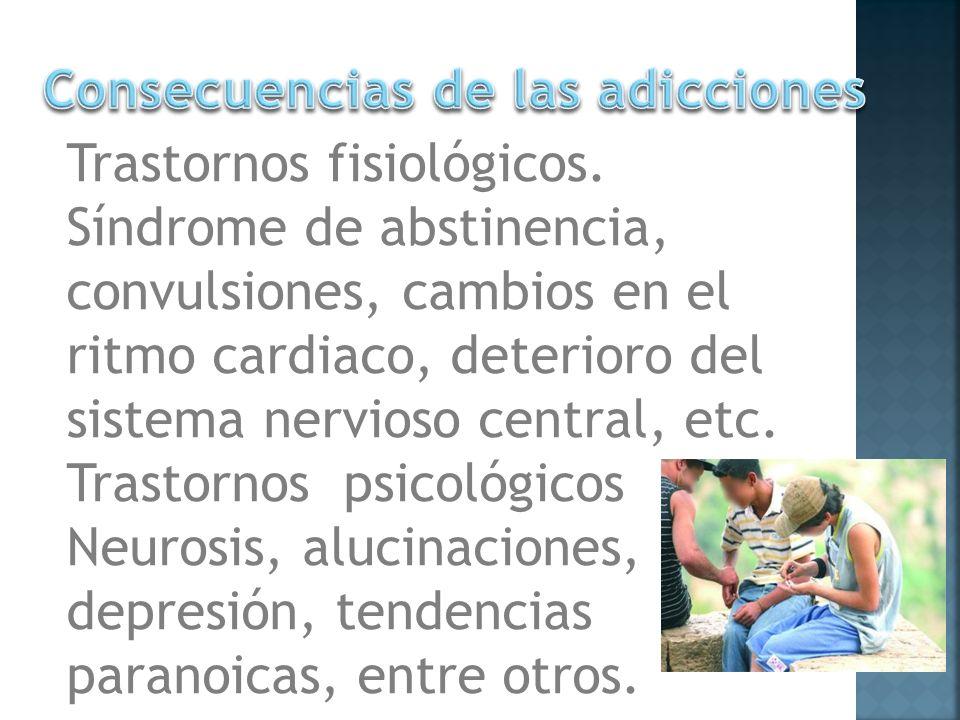 Trastornos fisiológicos. Síndrome de abstinencia, convulsiones, cambios en el ritmo cardiaco, deterioro del sistema nervioso central, etc. Trastornos