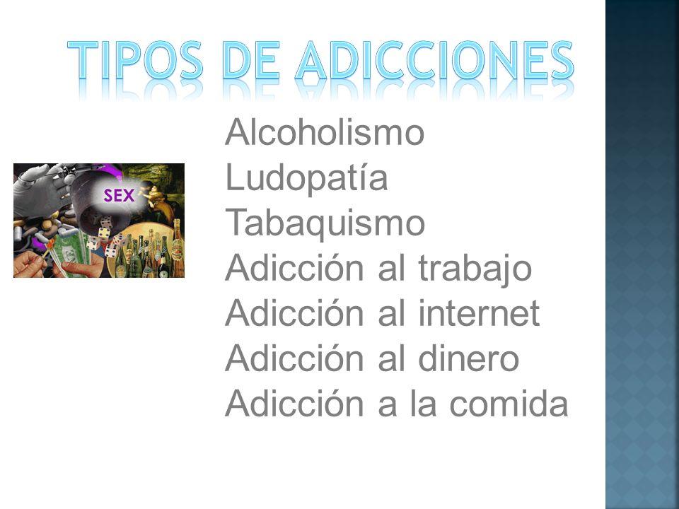 Alcoholismo Ludopatía Tabaquismo Adicción al trabajo Adicción al internet Adicción al dinero Adicción a la comida