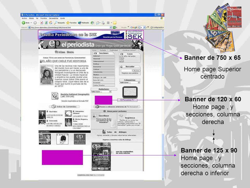 Banner de 750 x 65 Home page Superior centrado Banner de 120 x 60 Home page, y secciones, columna derecha Banner de 125 x 90 Home page, y secciones, columna derecha o inferior