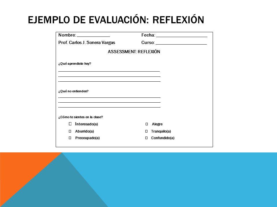 EJEMPLO DE EVALUACIÓN: REFLEXIÓN Nombre: __________________________________ Fecha: ______________________ Prof. Carlos J. Sonera VargasCurso: ________