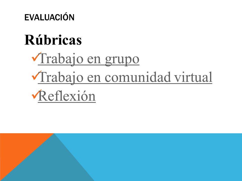 EVALUACIÓN Rúbricas Trabajo en grupo Trabajo en comunidad virtual Reflexión