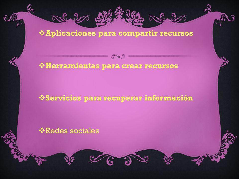 Aplicaciones para compartir recursos Herramientas para crear recursos Servicios para recuperar información Redes sociales