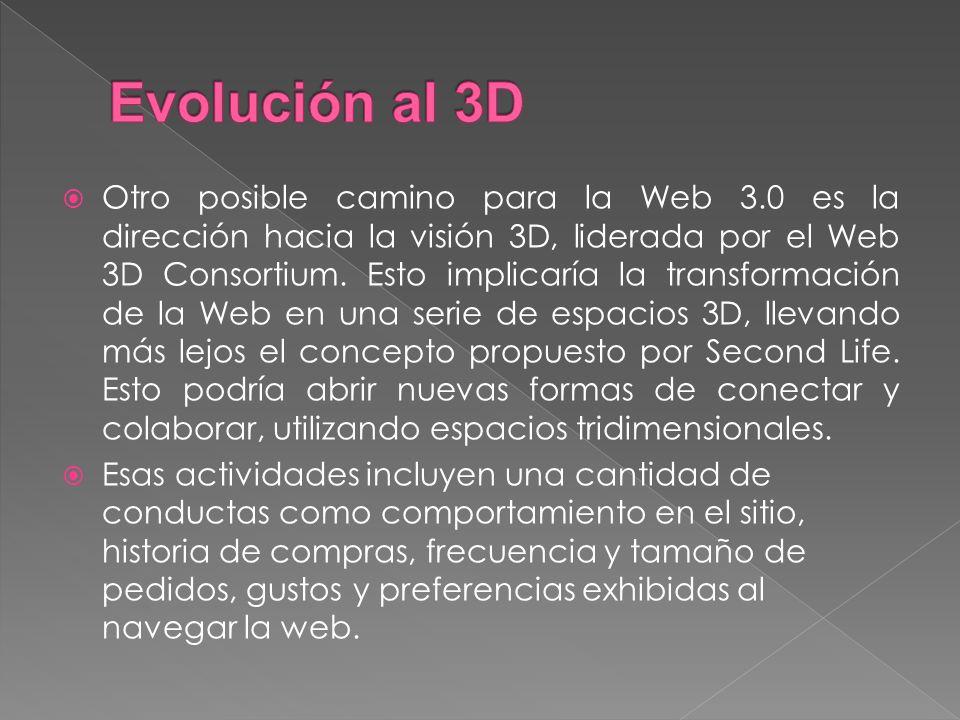 Otro posible camino para la Web 3.0 es la dirección hacia la visión 3D, liderada por el Web 3D Consortium.