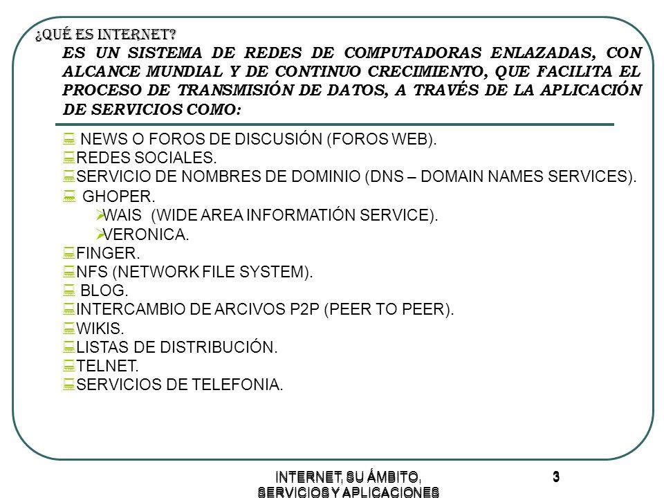 INTERNET, SU ÁMBITO, SERVICIOS Y APLICACIONES 3 3 ¿Qué ES INTERNET.