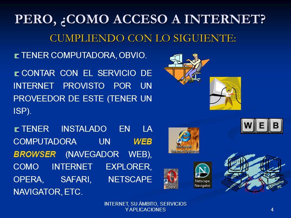 4 INTERNET, SU ÁMBITO, SERVICIOS Y APLICACIONES PERO, ¿COMO ACCESO A INTERNET.