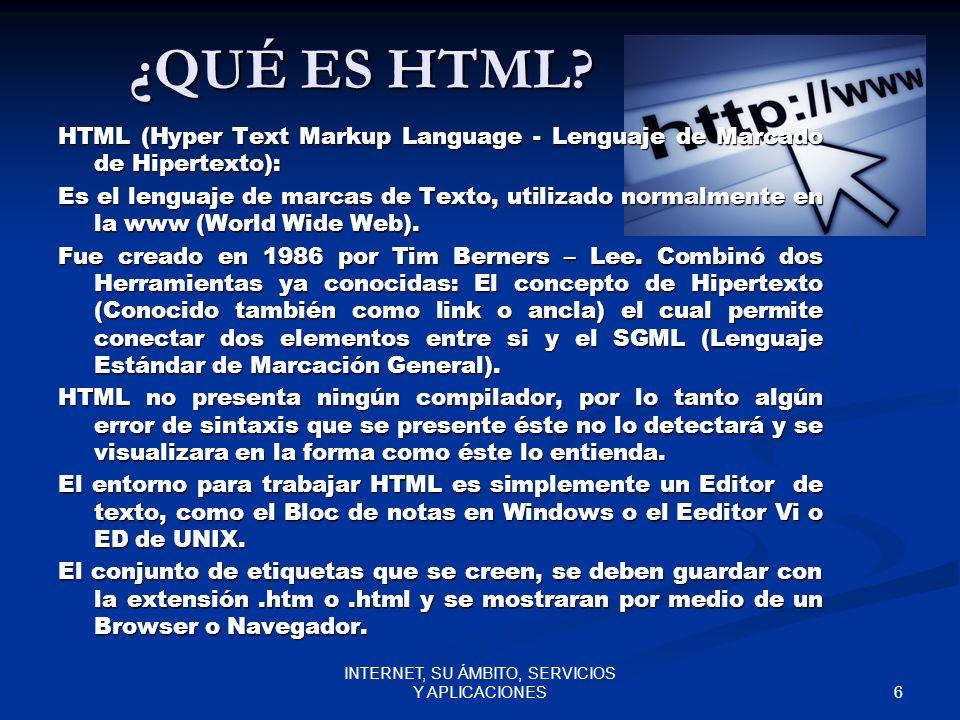 6 INTERNET, SU ÁMBITO, SERVICIOS Y APLICACIONES ¿QUÉ ES HTML.