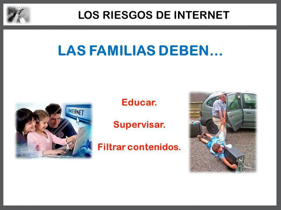 LAS FAMILIAS DEBEN… Educar. Supervisar. Filtrar contenidos. LOS RIESGOS DE INTERNET