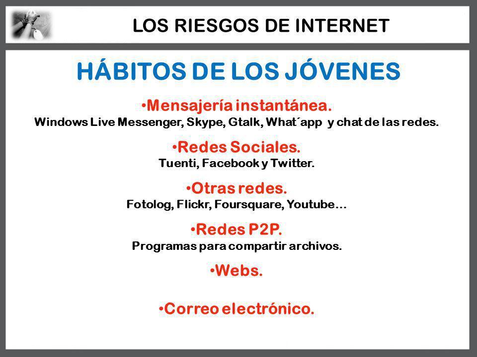 HÁBITOS DE LOS JÓVENES Mensajería instantánea. Windows Live Messenger, Skype, Gtalk, What´app y chat de las redes. Redes Sociales. Tuenti, Facebook y
