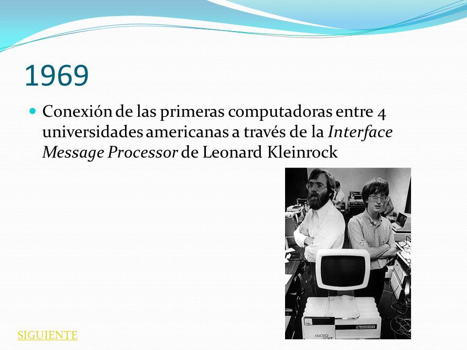 1969 Conexión de las primeras computadoras entre 4 universidades americanas a través de la Interface Message Processor de Leonard Kleinrock SIGUIENTE