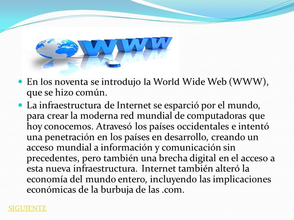En los noventa se introdujo la World Wide Web (WWW), que se hizo común. La infraestructura de Internet se esparció por el mundo, para crear la moderna