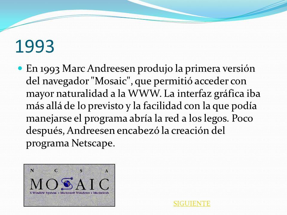 1993 En 1993 Marc Andreesen produjo la primera versión del navegador