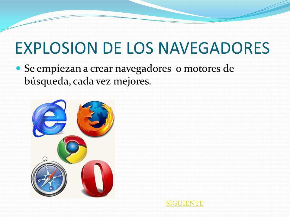 EXPLOSION DE LOS NAVEGADORES Se empiezan a crear navegadores o motores de búsqueda, cada vez mejores. SIGUIENTE