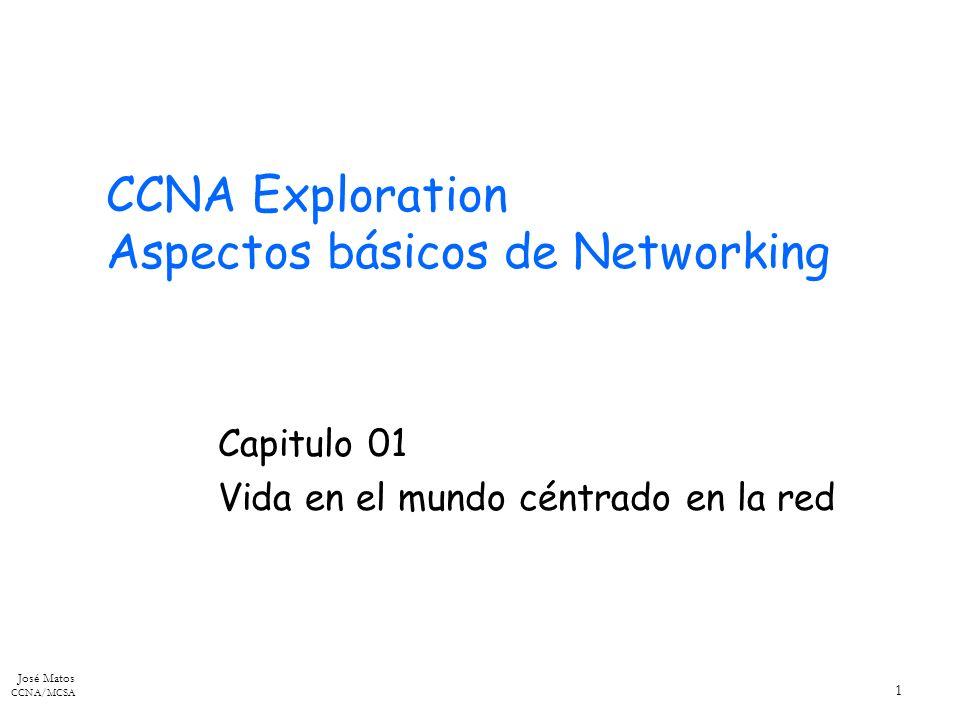 José Matos CCNA/MCSA 1 CCNA Exploration Aspectos básicos de Networking Capitulo 01 Vida en el mundo céntrado en la red
