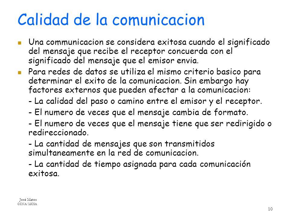 José Matos CCNA/MCSA 10 Calidad de la comunicacion Una communicacion se considera exitosa cuando el significado del mensaje que recibe el receptor concuerda con el significado del mensaje que el emisor envia.