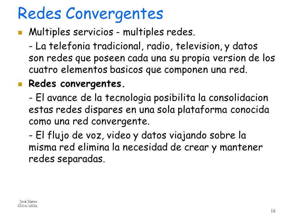 José Matos CCNA/MCSA 16 Redes Convergentes Multiples servicios - multiples redes.