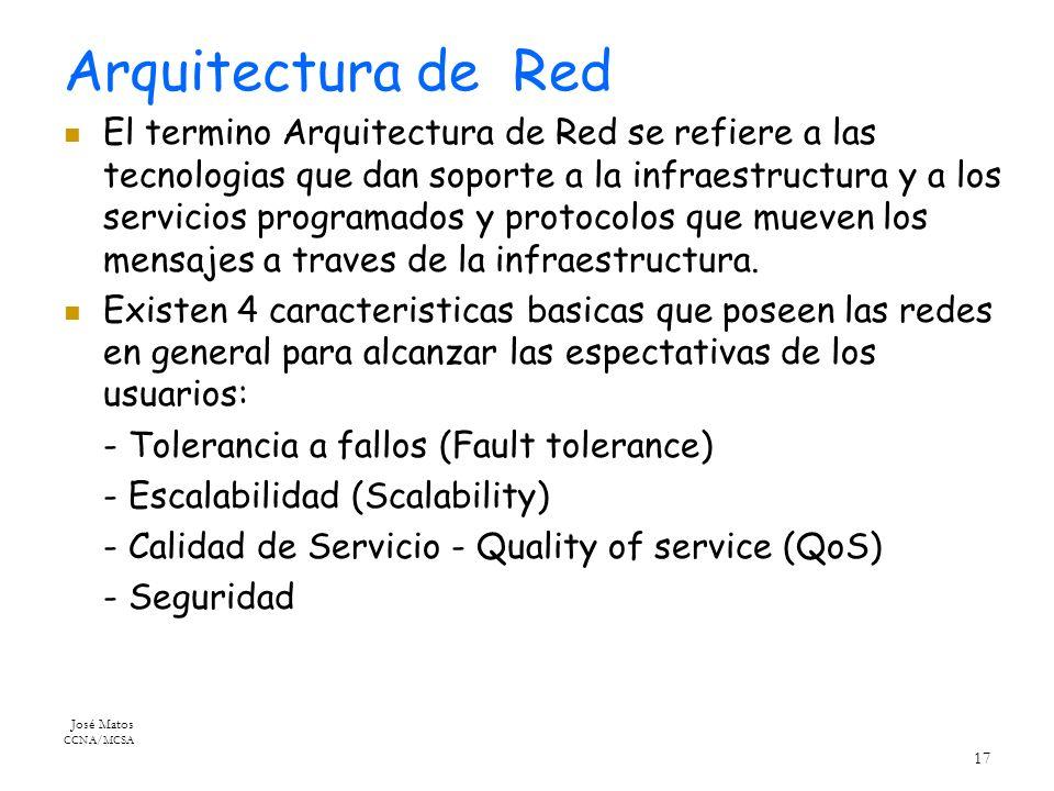 José Matos CCNA/MCSA 17 Arquitectura de Red El termino Arquitectura de Red se refiere a las tecnologias que dan soporte a la infraestructura y a los servicios programados y protocolos que mueven los mensajes a traves de la infraestructura.