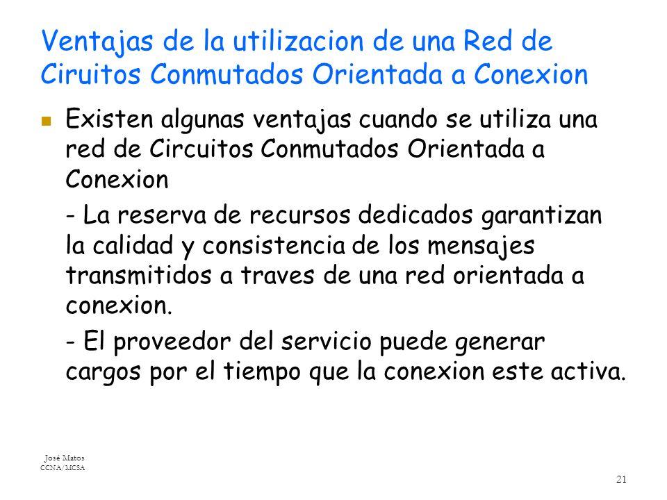 José Matos CCNA/MCSA 21 Ventajas de la utilizacion de una Red de Ciruitos Conmutados Orientada a Conexion Existen algunas ventajas cuando se utiliza una red de Circuitos Conmutados Orientada a Conexion - La reserva de recursos dedicados garantizan la calidad y consistencia de los mensajes transmitidos a traves de una red orientada a conexion.