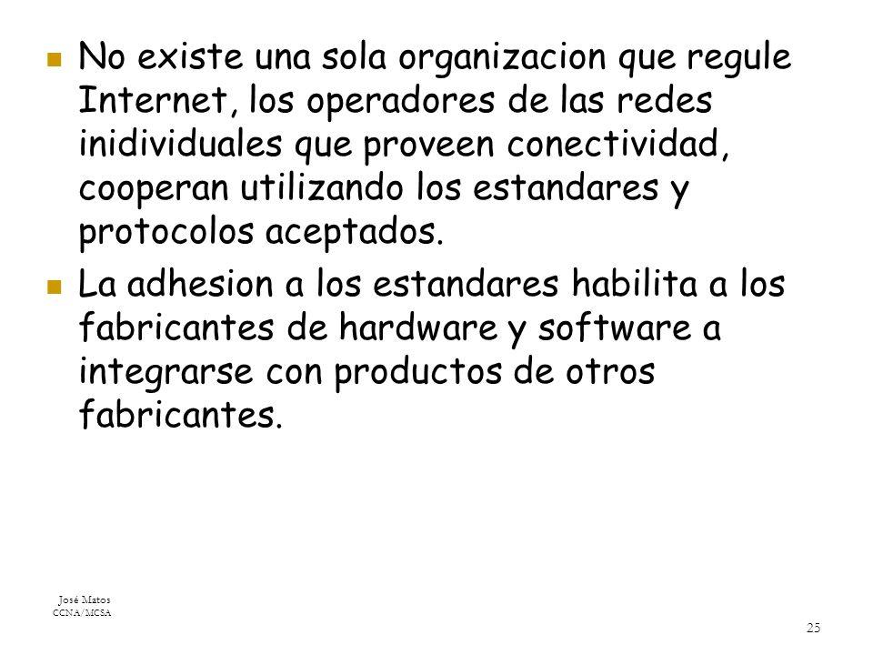 José Matos CCNA/MCSA 25 No existe una sola organizacion que regule Internet, los operadores de las redes inidividuales que proveen conectividad, cooperan utilizando los estandares y protocolos aceptados.