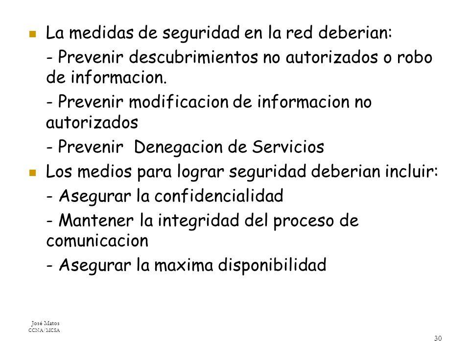 José Matos CCNA/MCSA 30 La medidas de seguridad en la red deberian: - Prevenir descubrimientos no autorizados o robo de informacion.