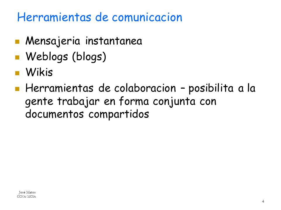 José Matos CCNA/MCSA 4 Herramientas de comunicacion Mensajeria instantanea Weblogs (blogs) Wikis Herramientas de colaboracion – posibilita a la gente trabajar en forma conjunta con documentos compartidos