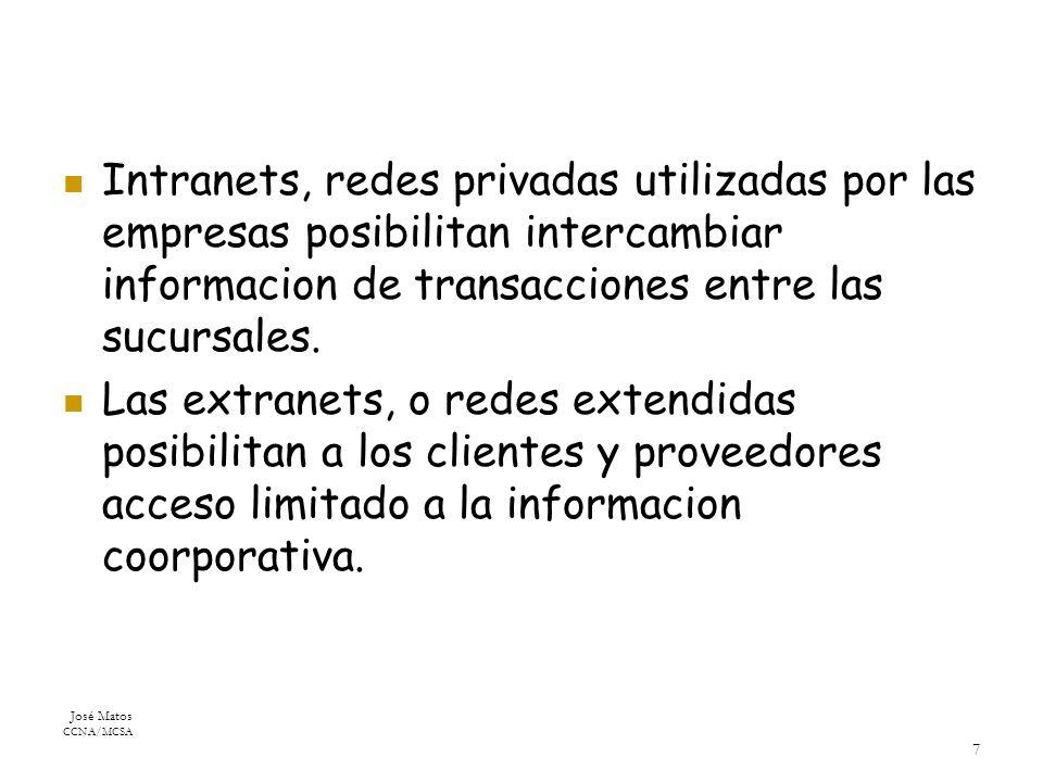 José Matos CCNA/MCSA 7 Intranets, redes privadas utilizadas por las empresas posibilitan intercambiar informacion de transacciones entre las sucursales.