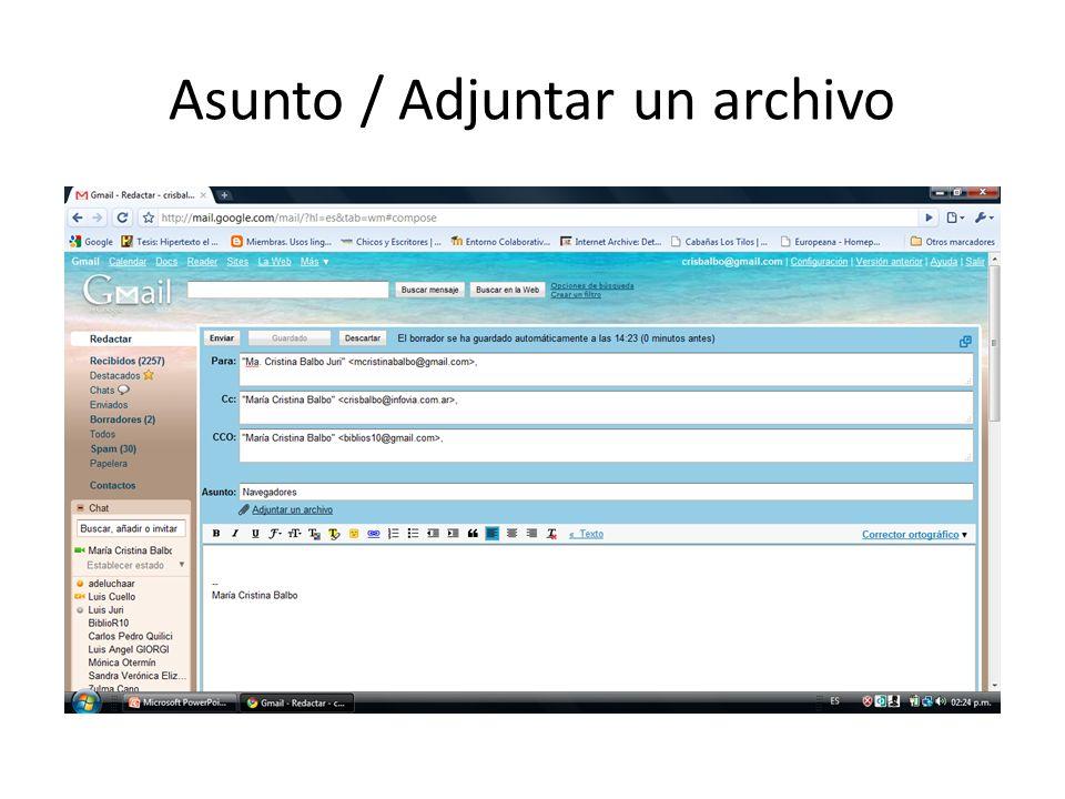 Asunto / Adjuntar un archivo