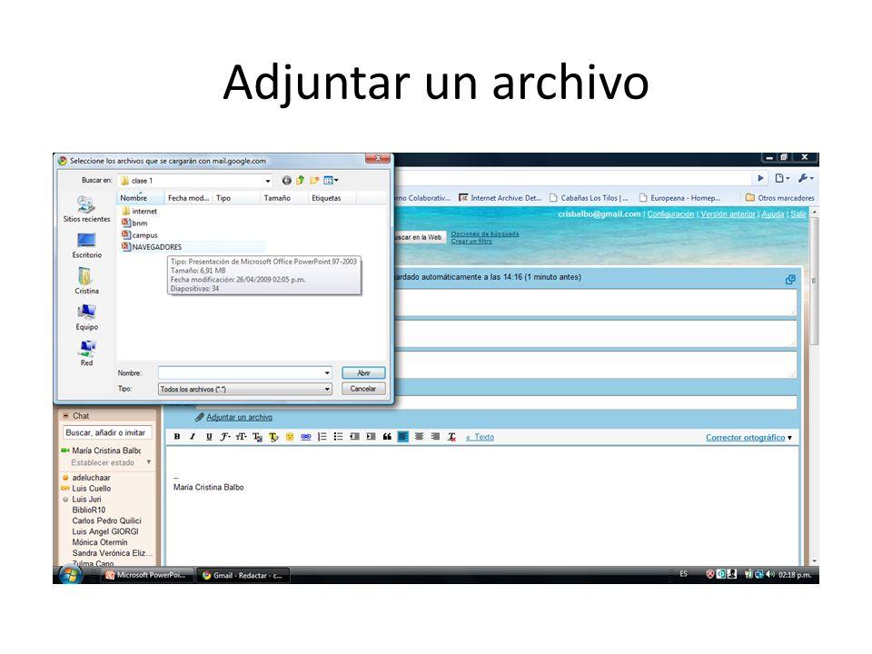 Adjuntar un archivo