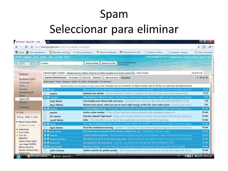 Spam Seleccionar para eliminar