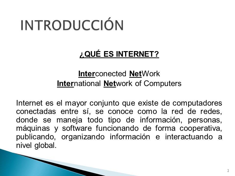 ¿QUÉ ES INTERNET? Interconected NetWork International Network of Computers Internet es el mayor conjunto que existe de computadores conectadas entre s