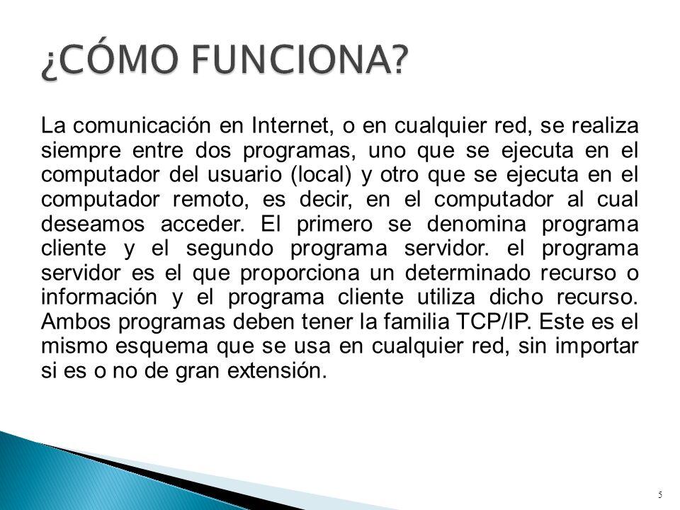 La comunicación en Internet, o en cualquier red, se realiza siempre entre dos programas, uno que se ejecuta en el computador del usuario (local) y otr