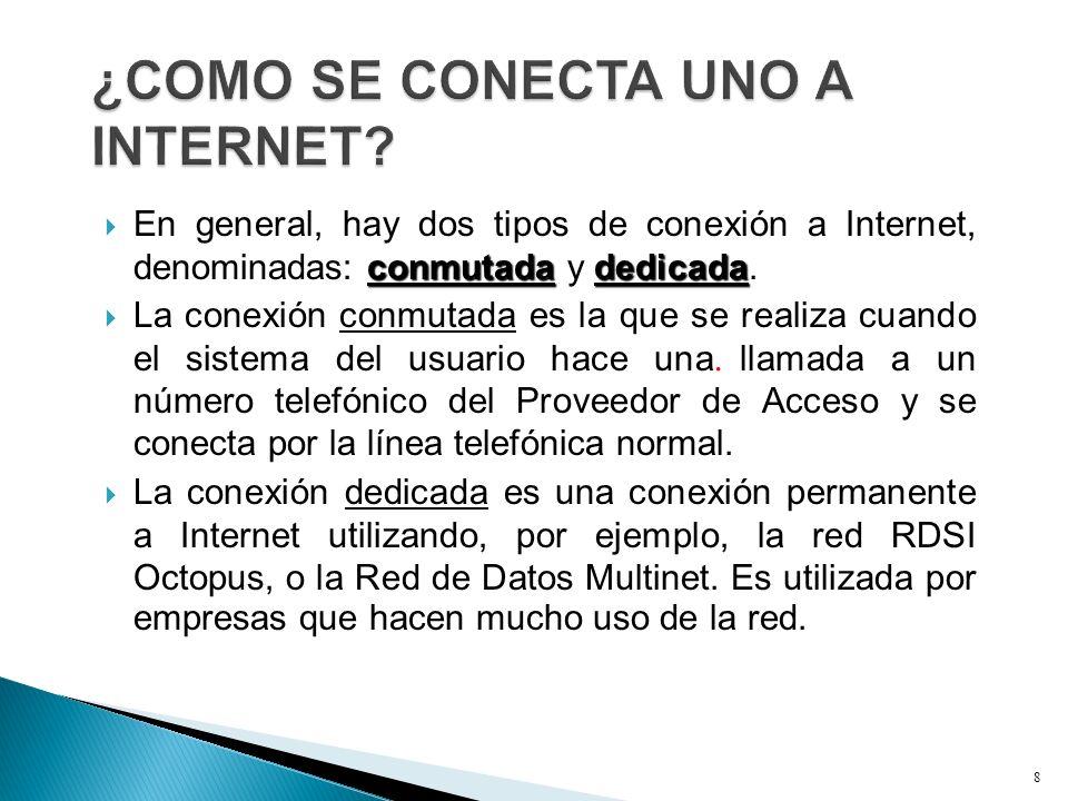 conmutadadedicada En general, hay dos tipos de conexión a Internet, denominadas: conmutada y dedicada. La conexión conmutada es la que se realiza cuan
