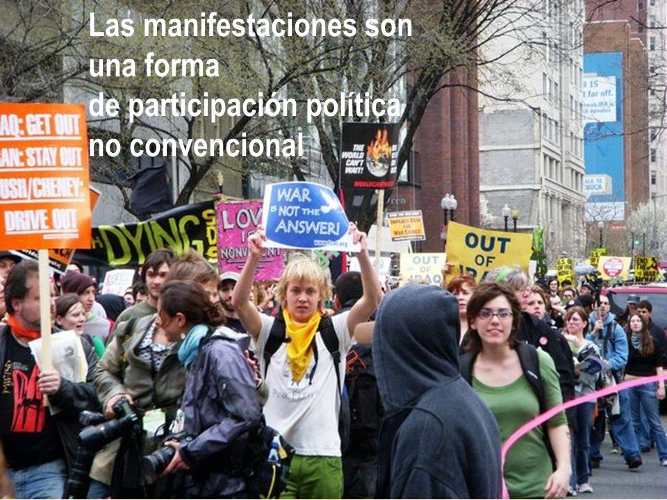 Las manifestaciones son una forma de participación política no convencional